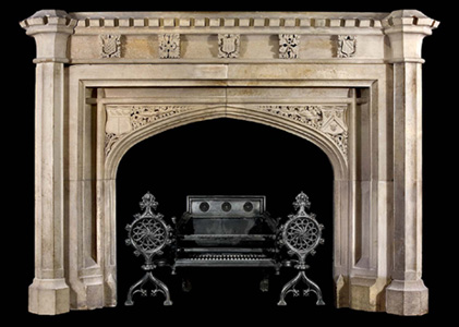 Hand carved tudor gothic mantle model mfp174 houston tx for Tudor fireplaces