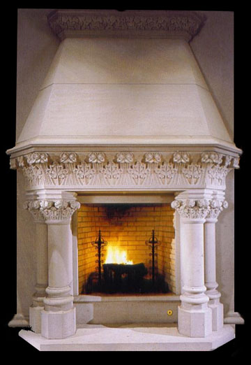 French renessiance cream marble fire surround model for French country stone fireplace