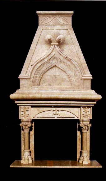 Gothic Mantle Hand Carved In White Marble Fireplace