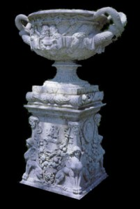ITALIAN HAND CARVED WHITE MARBLE GARDEN URN AND PEDESTAL – MODEL MP113 1